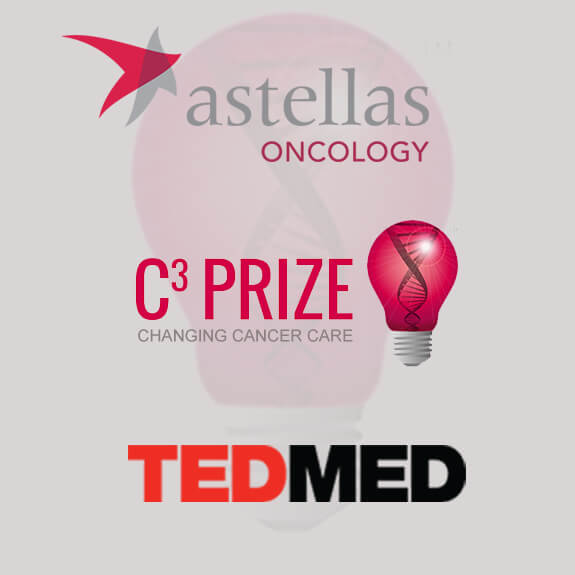 TEDMED logo, Astellas Oncology logo, and C3 Prize logo